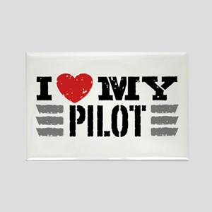 I Love My Pilot Rectangle Magnet