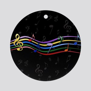Mixed Rainbow Musical Notes Ornament (Round)
