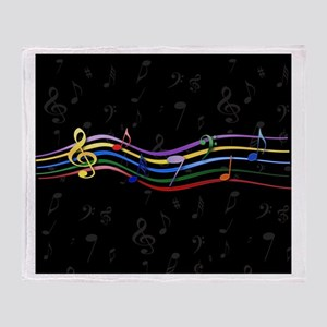 Mixed Rainbow Musical Notes Throw Blanket