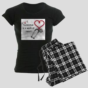 Nurses Work of Heart Women's Dark Pajamas