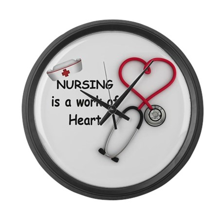 Nurses Work of Heart Large Wall Clock