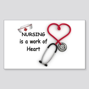 Nurses Work of Heart Sticker (Rectangle)