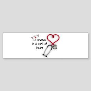 Nurses Work of Heart Sticker (Bumper)