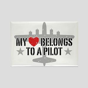 My Heart Belongs To A Pilot Rectangle Magnet