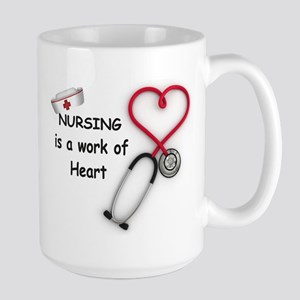 Nurses Work of Heart Large Mug