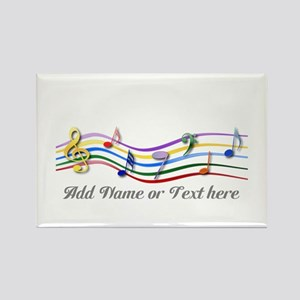 Personalized Rainbow Musical Rectangle Magnet