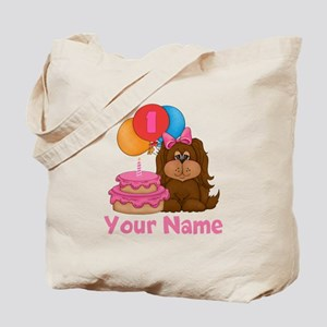 1st Birthday Puppy Girl Tote Bag