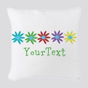 Personalize Flowers Woven Throw Pillow
