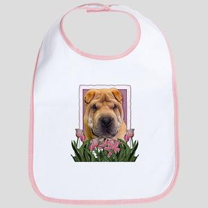 Mothers Day Pink Tulips Shar Pei Bib