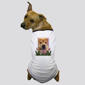 Mothers Day Pink Tulips Shar Pei Dog T-Shirt