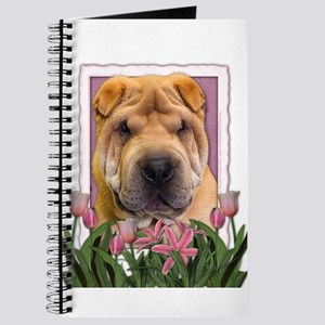 Mothers Day Pink Tulips Shar Pei Journal