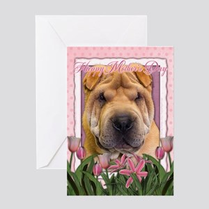 Mothers Day Pink Tulips Shar Pei Greeting Card