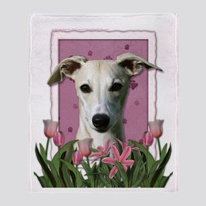Mothers Day Pink Tulips Whippet Throw Blanket