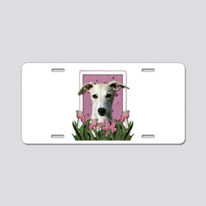 Mothers Day Pink Tulips Whippet Aluminum License P