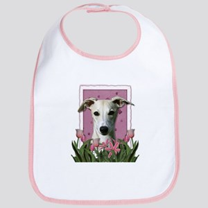 Mothers Day Pink Tulips Whippet Bib