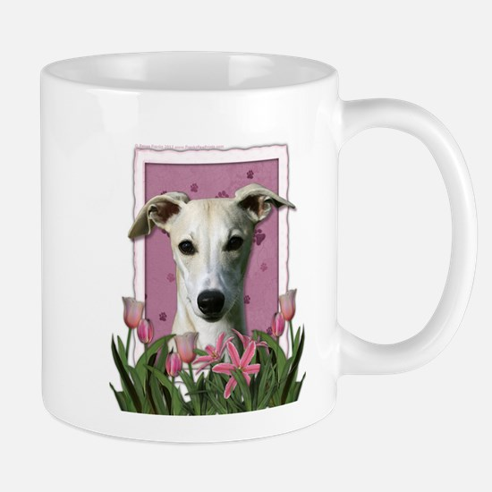 Mothers Day Pink Tulips Whippet Mug