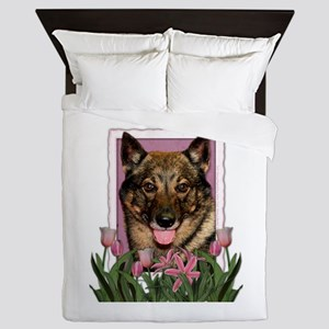 Mothers Day Pink Tulips Vallhund Queen Duvet