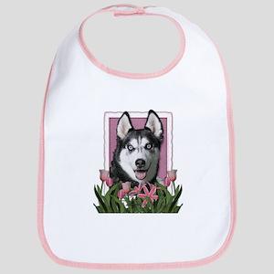 Mothers Day Pink Tulips Siberian Husky Bib