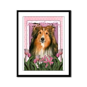 Mothers Day Pink Tulips Sheltie Framed Panel Print