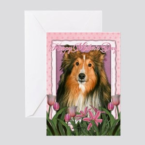 Mothers Day Pink Tulips Sheltie Greeting Card