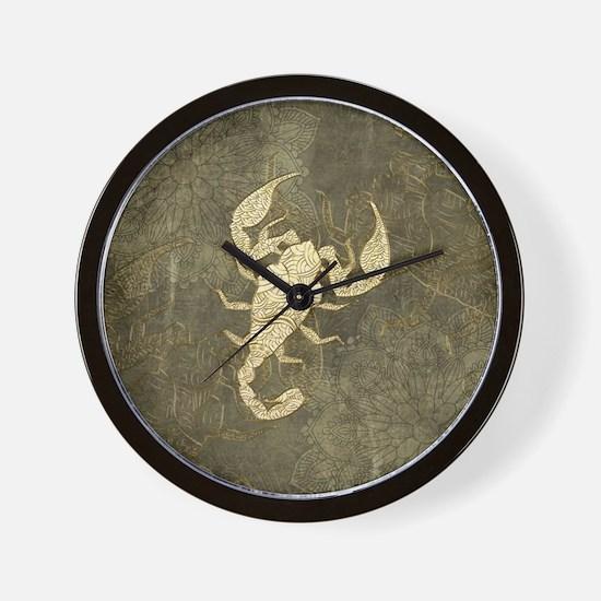 Beautiful scorpion manda in golden colors Wall Clo