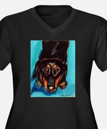 Portrait of a dachshund Women's Plus Size V-Neck D