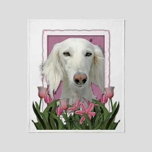 Mothers Day Pink Tulips Saluki Throw Blanket