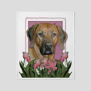 Mothers Day Pink Tulips Ridgeback Throw Blanket