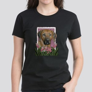 Mothers Day Pink Tulips Ridgeback Women's Dark T-S