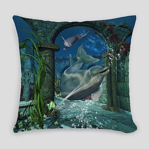 Wonderful dolphin swimming in a fantasy underwater