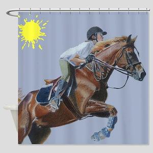 Hunter/Jumper Equestrian Hors Shower Curtain