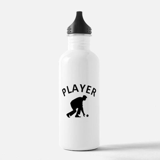 Lawn Bowling Player Water Bottle