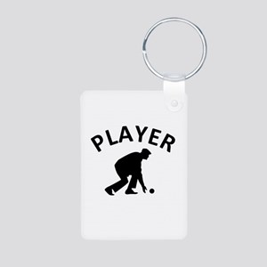 Lawn Bowling Player Aluminum Photo Keychain