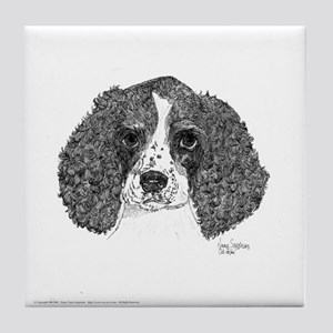 Spaniel Pup Pen and Ink Tile Coaster (w)