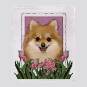 Mothers Day Pink Tulips Pom Throw Blanket