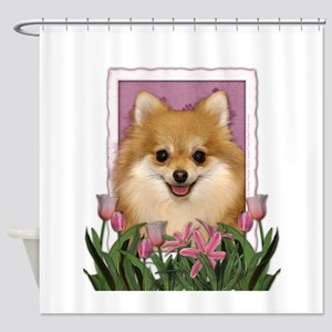 Mothers Day Pink Tulips Pom Shower Curtain