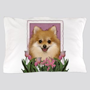 Mothers Day Pink Tulips Pom Pillow Case