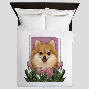 Mothers Day Pink Tulips Pom Queen Duvet
