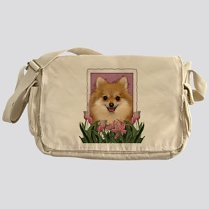 Mothers Day Pink Tulips Pom Messenger Bag