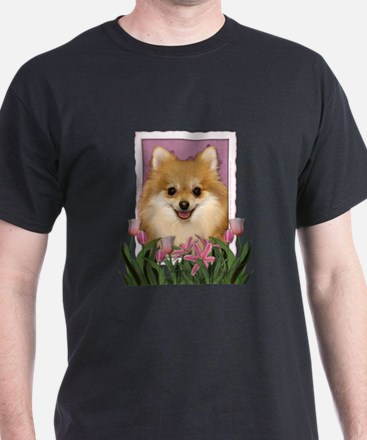 Mothers Day Pink Tulips Pom T-Shirt