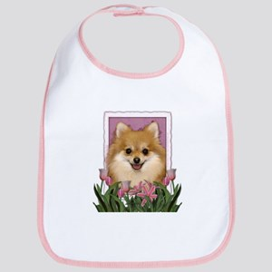 Mothers Day Pink Tulips Pom Bib