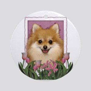 Mothers Day Pink Tulips Pom Ornament (Round)