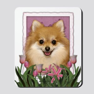 Mothers Day Pink Tulips Pom Mousepad