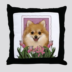 Mothers Day Pink Tulips Pom Throw Pillow