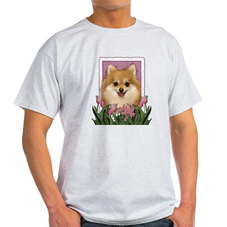 Mothers Day Pink Tulips Pom Light T-Shirt