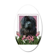 Mothers Day Pink Tulips Newfie 22x14 Oval Wall Pee