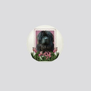 Mothers Day Pink Tulips Newfie Mini Button