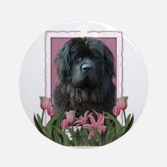 Mothers Day Pink Tulips Newfie Ornament (Round)