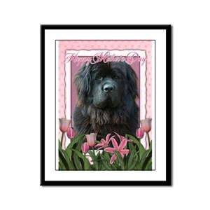 Mothers Day Pink Tulips Newfie Framed Panel Print