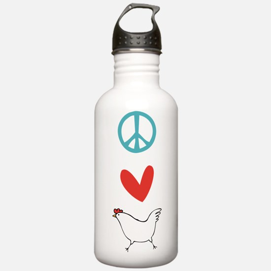 Peace Love Chickens Water Bottle